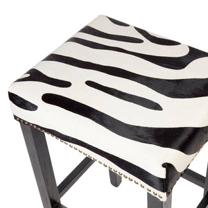 Canyon Black Oak Bar Stool - Zebra