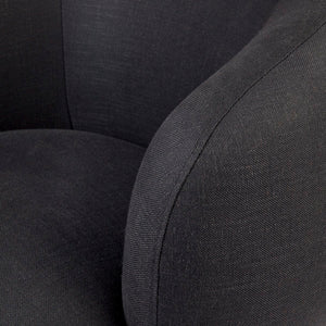 Tubby Swivel Occasional Chair - Black Linen