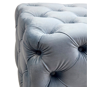 Blair Tufted Bench Ottoman - Dove Grey Velvet