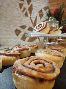 Large vegan cinnamon rolls, with lots of cinnamon, soft and gooey. makati manila philippines. plant based sweets and baked goods