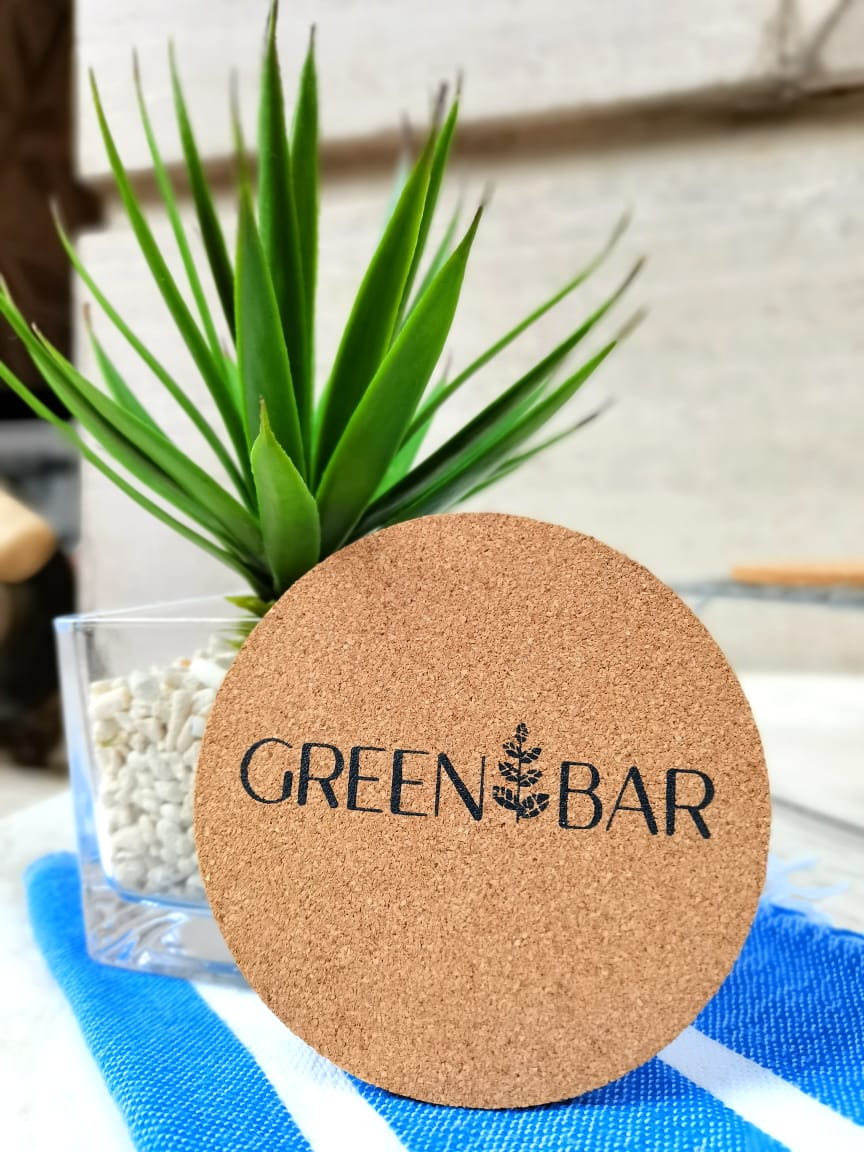 Green Bar Cork Coasters