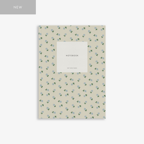 Small Notebook Small Flower Creamy Grey - Schmidt's Papeterie