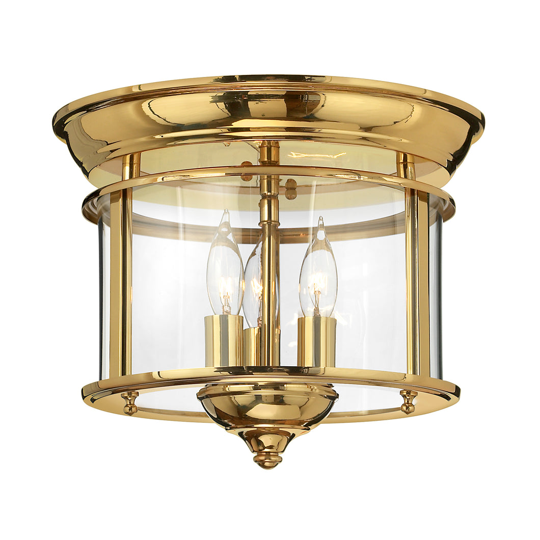 Esther 3 Light Flush Mount - Polished Brass