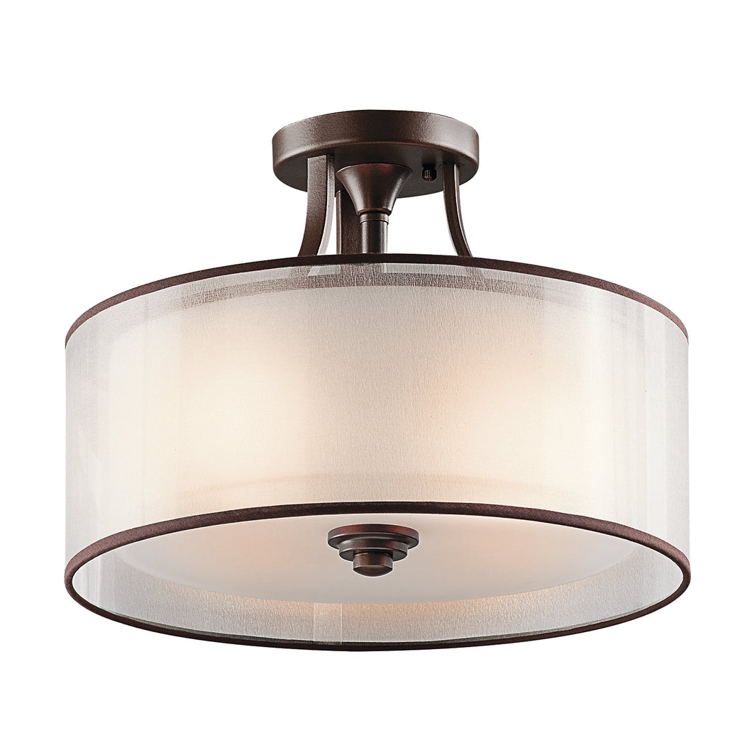 Hazelmere 3 Light Semi-Flush Mount - Antique Pewter