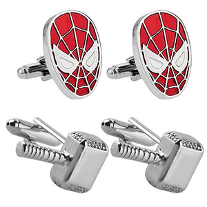 Outlander Gear Marvel Comics 2 Pairs Spiderman & Thor Silver Hammer Superhero 2018 Movie Mens Boys Cufflinks