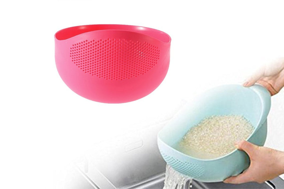 081A Multi-Function with Integrated Colander Mixing Bowl Washing Rice, Vegetable and Fruits Drainer Bowl-Size: 21x17x8.5cm
