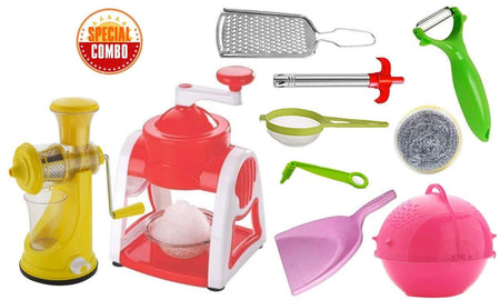 MIX COMBO - ICE GOLA MAKER, FRUIT JUICER, GRATER, GAS LIGHTER, BIG TEA STRAINER, PEELER, VEGETABLES SPIRAL CUTTER, KITCHEN SCRUBBER WITH WASHING/STRAINER BOWL & PLASTIC DUST PAN (10PCS)