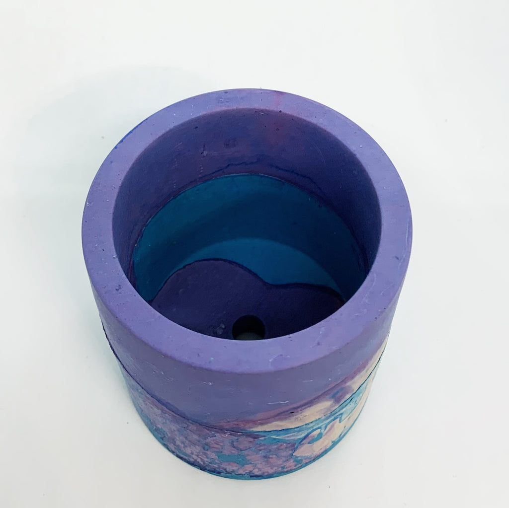 Blue, Purple, and White Small Concrete Round Vessel