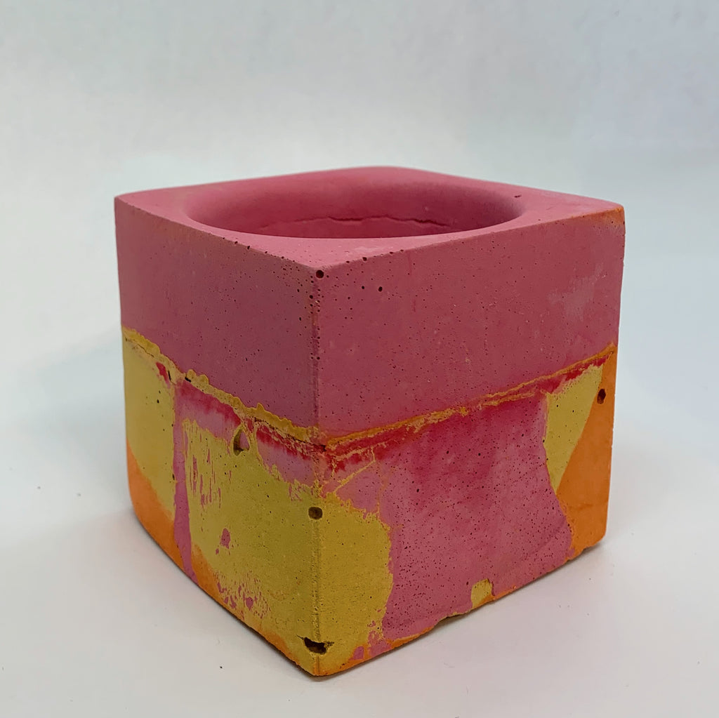 Orange, Pink, and Yellow Large Concrete Square Vessel