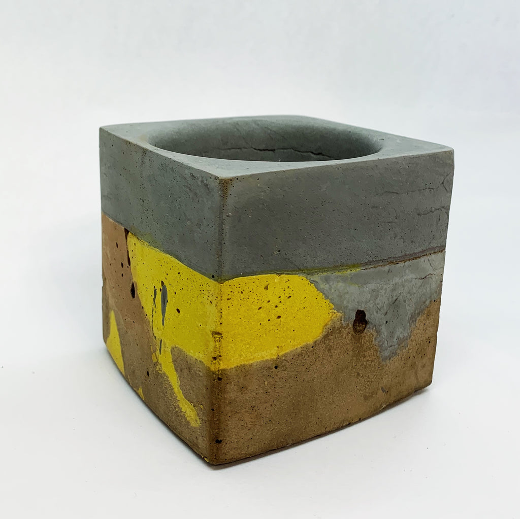 Brown, Grey, and Yellow Large Concrete Square Vessel