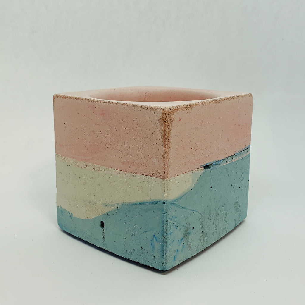 Pink, Blue, White, and Brown Large Concrete Square Vessel