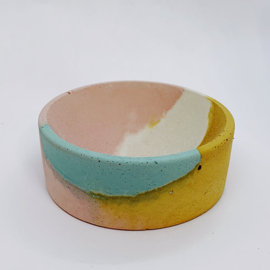 Pink, Mustard, Blue, and White Concrete Circle Dish