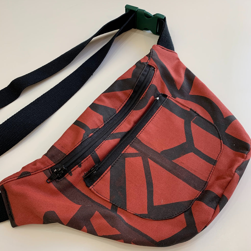 Waist Bag - Red and Black Pattern