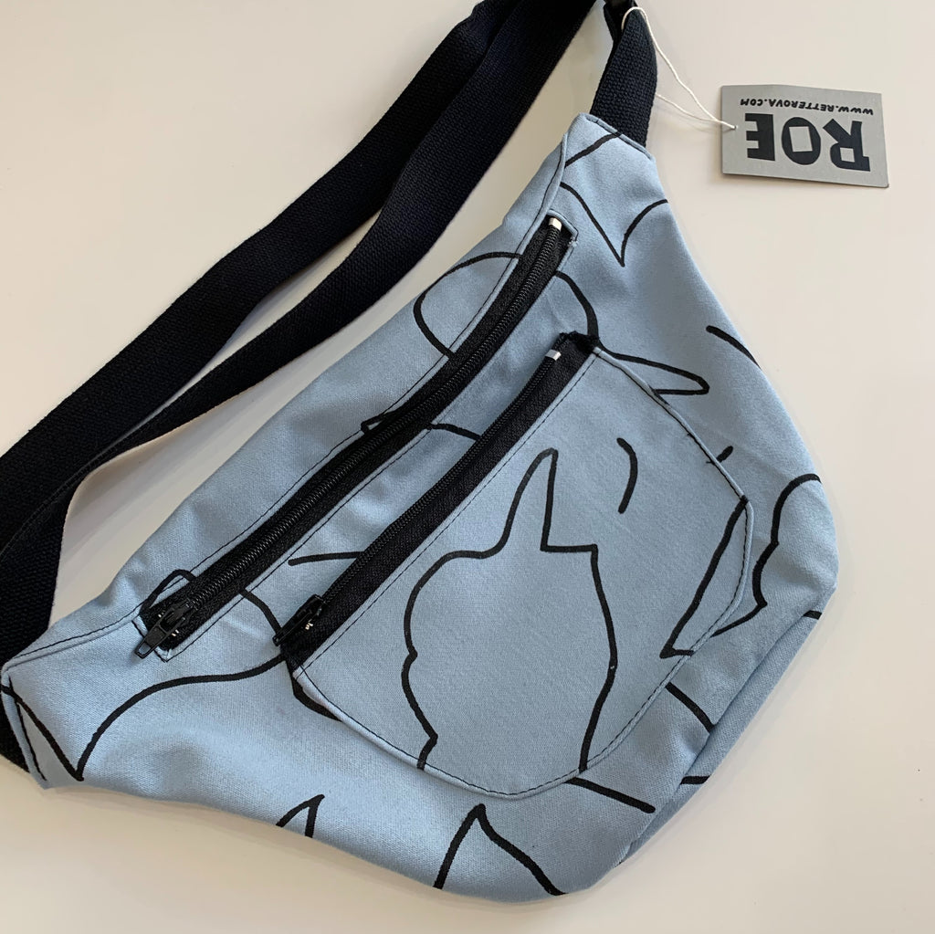 Waist Bag - Blue and Black Pattern