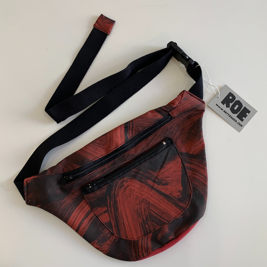 Waist Bag - Red and Black Brushstrokes Pattern