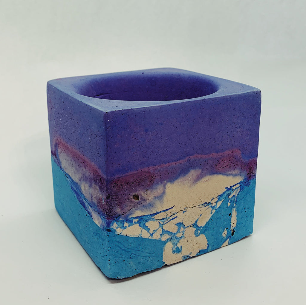 Blue, Purple, and White Large Concrete Square Vessel