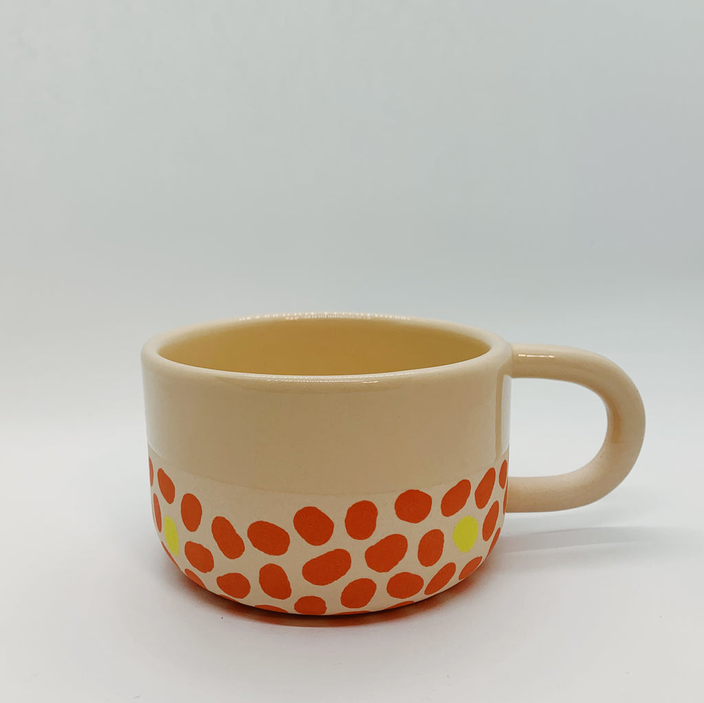 Pink, Yellow, and Terracotta Tea Cup