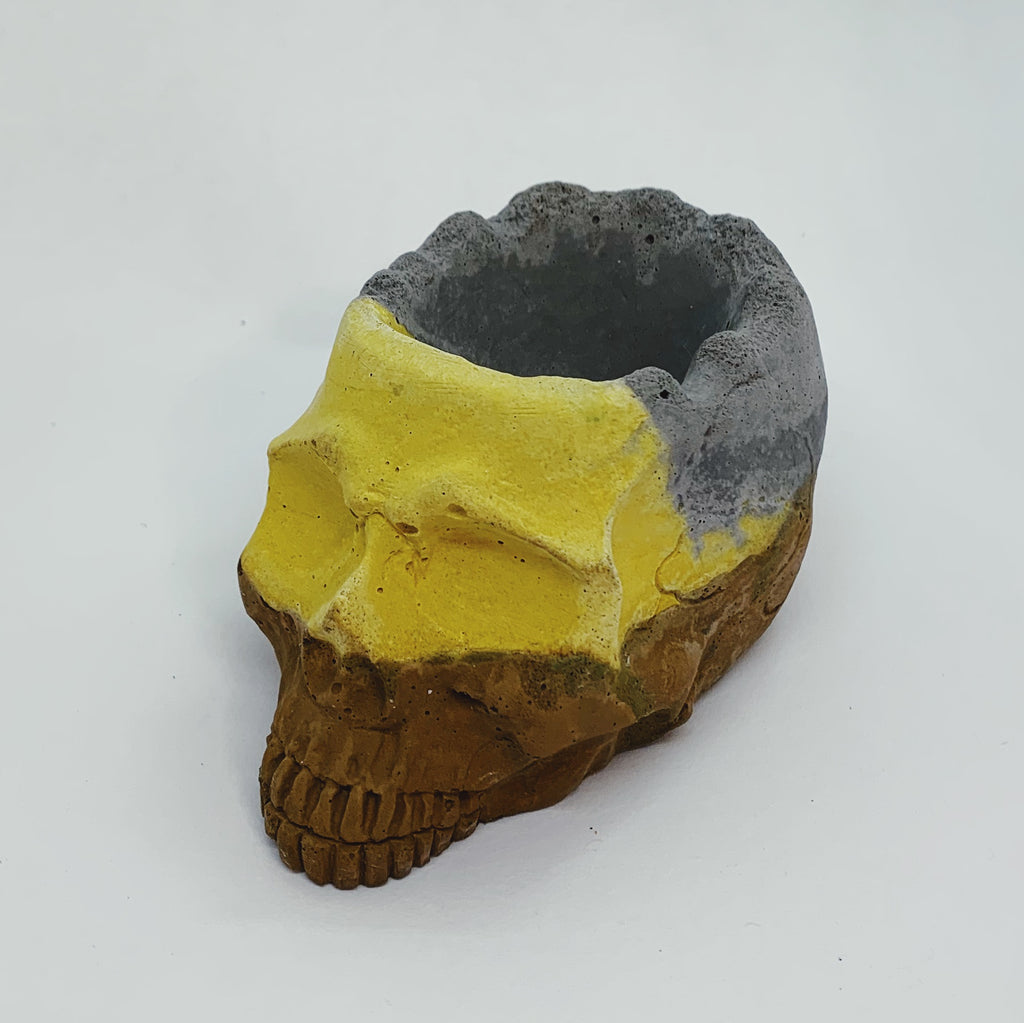 Grey, Yellow, and Brown Concrete Skull Object