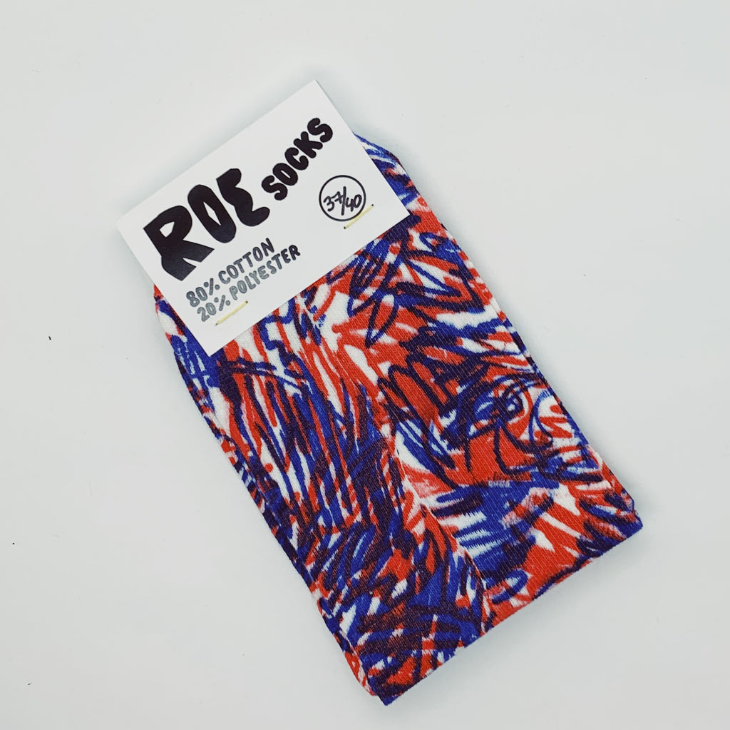 Red and Dark Blue on White - Screenprinted socks