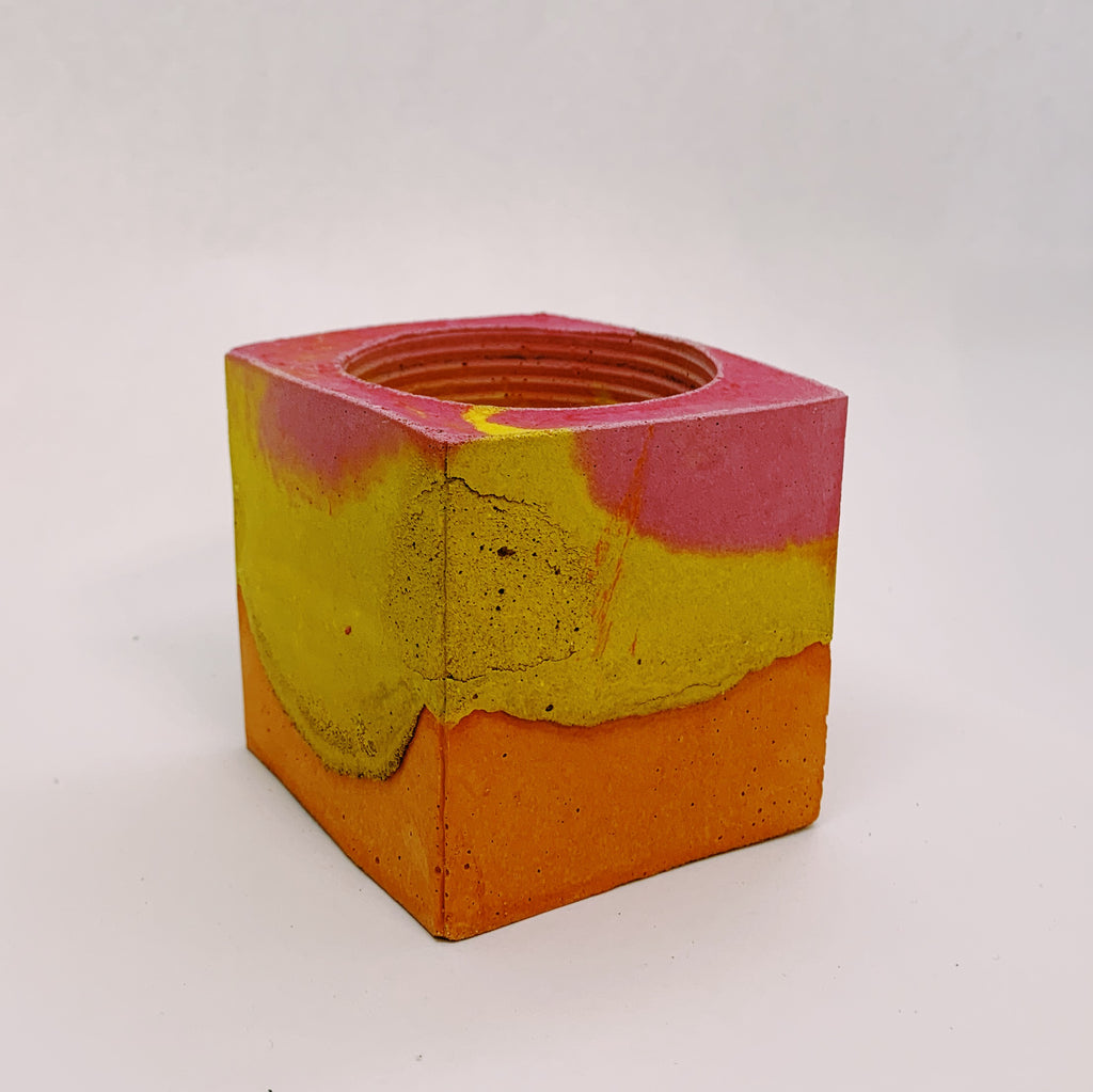 Pink, Orange, and Yellow Small Concrete Square Vessel