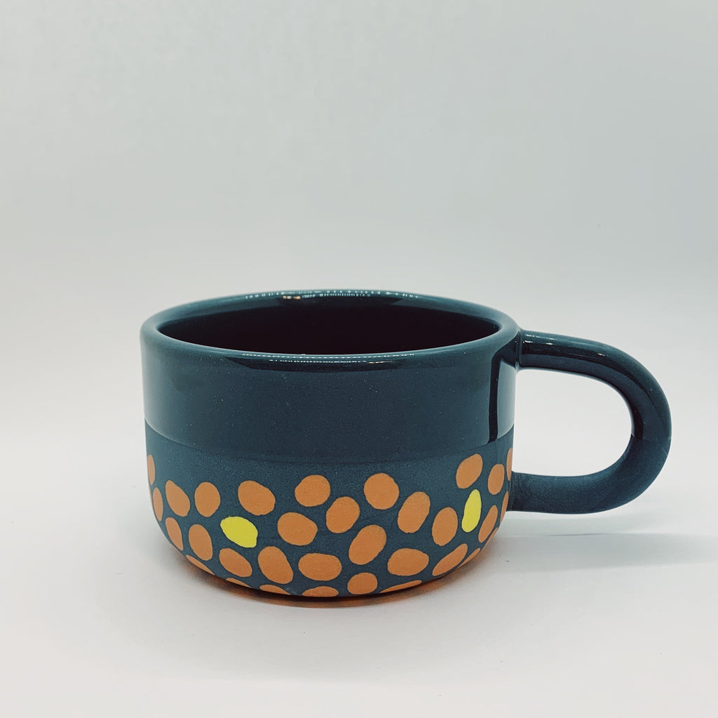 Dark Blue, Terracotta, and Yellow Tea Cup
