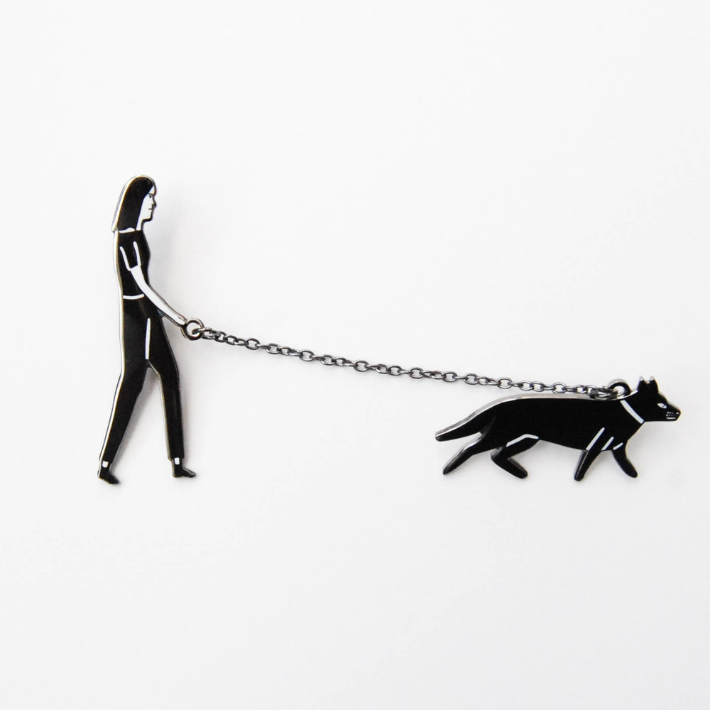 Dog Walker Enamel Pin