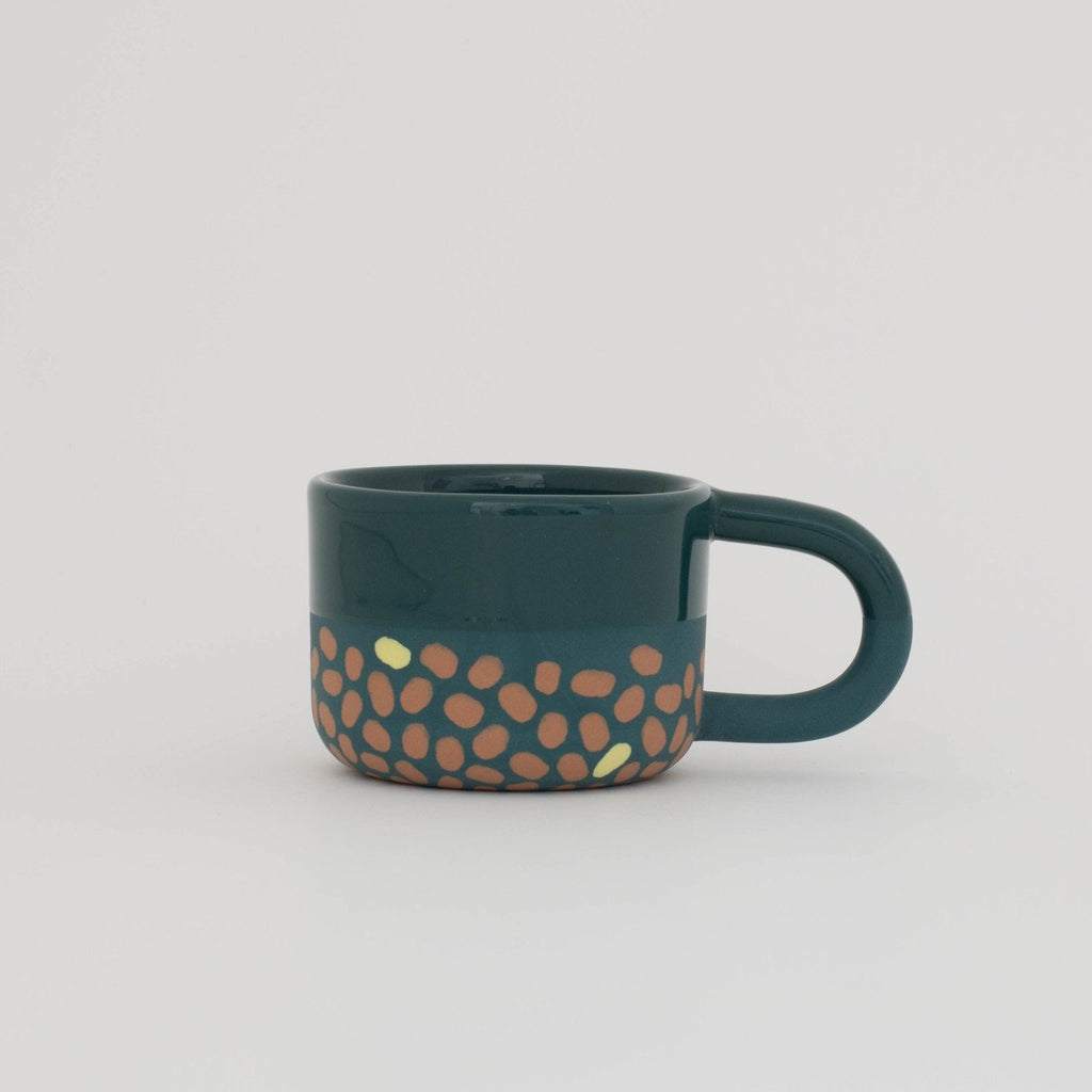 Dark Blue, Terracotta, and Yellow Espresso Cup