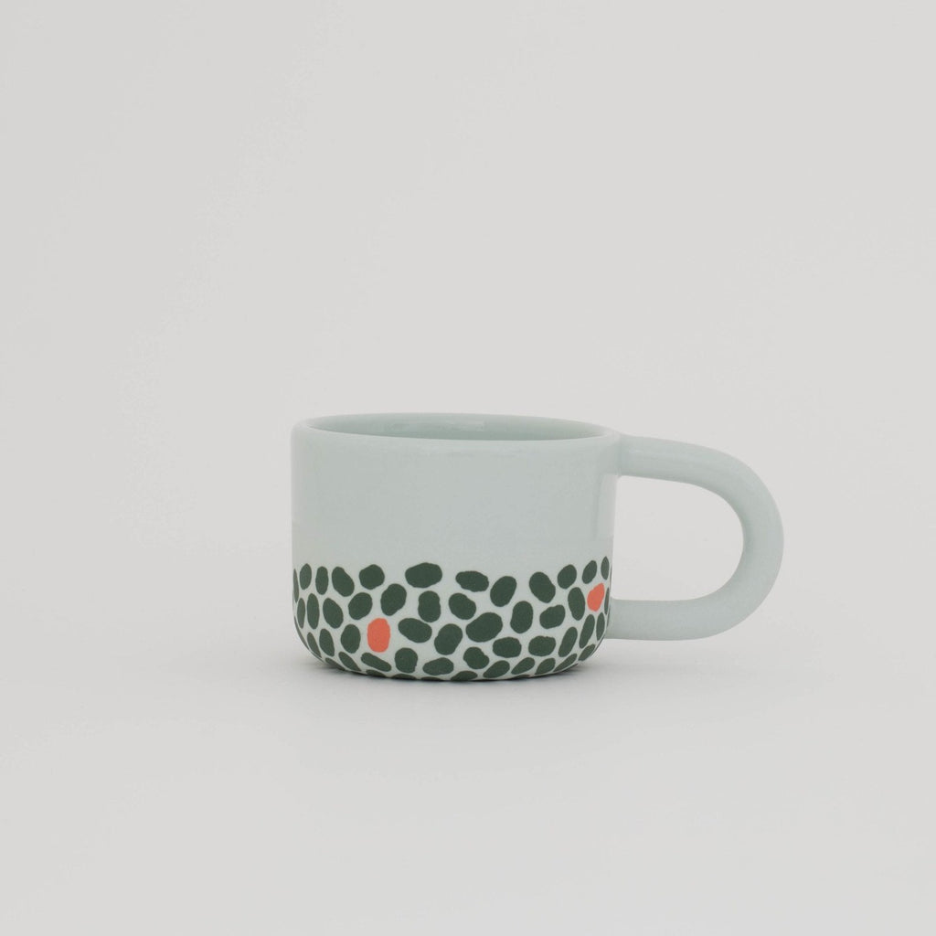 Pale Blue, Green, and Terracotta Espresso Cup
