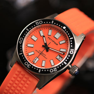 Orange 62Mas Homage NH35A  Waffle Strap Vintage Watch