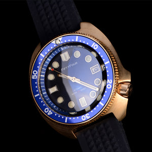 Bronze Watch 6105 Turtle Blue dial NH35A  30ATM Water resistant