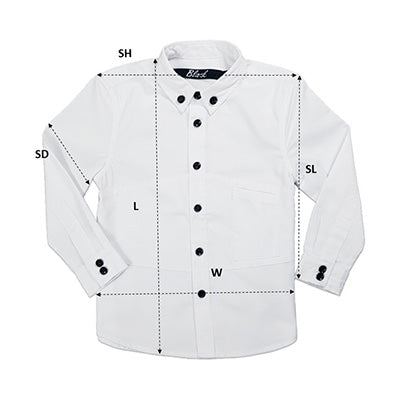 Kids' Collar Shirt Size Chart