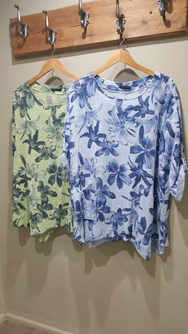 Top - Floral Print Baggy Cotton Half Sleeves