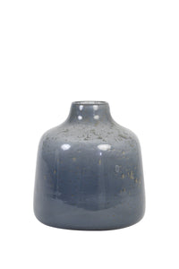 Vase - Ø17,5x19 cm - Deoni - Glass Stone Finish - Grey