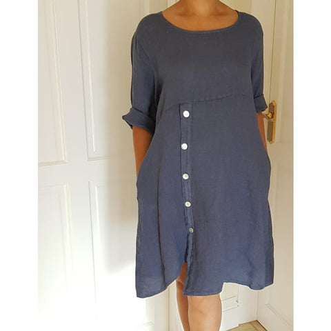 Dress - Linen With Half Sleeves And Side Buttons
