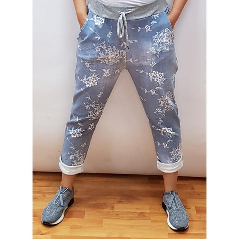 Jogger - Chambray And White Floral Distressed