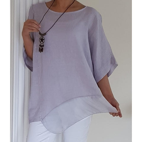 Top - Asymmetric Hem Linen With Silk Panel