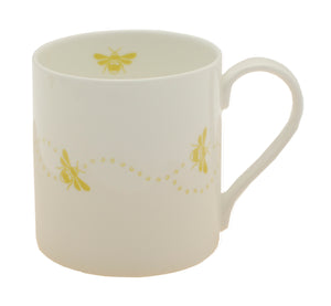 Bee fine bone china mug ochre trail bees on white