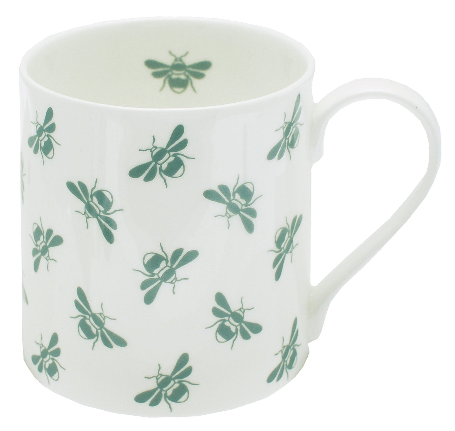 Bee fine bone china mug moss repeat bees on white