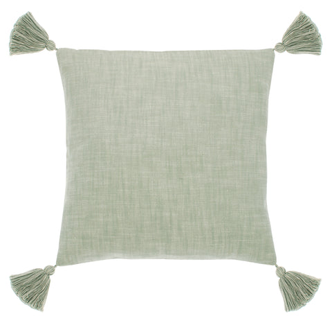 Chambray Cushion With Chunky Tassels - Moss