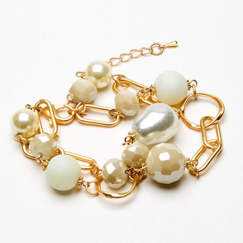 Bracelet - Twin Strand Pearl and Beaded