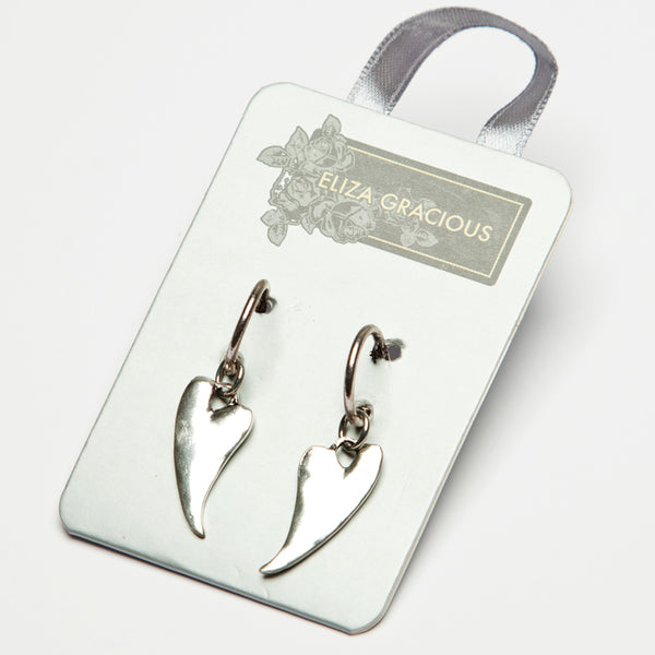 Earrings - Curved Heart Dropper.