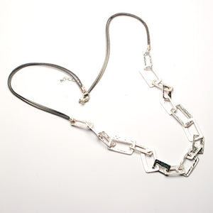 Necklace  - Long suede - Beaten Effect Rectangular Chain Links.