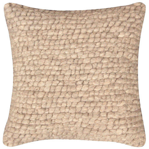 Cushion - 45 cm x 45 cm - Knotted Wool - Lt. Fawn