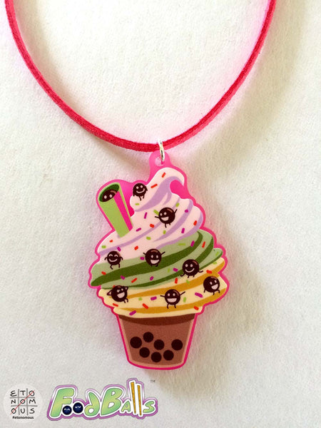 FoodBalls Boba Frozen Treat Acrylic Charm Necklace