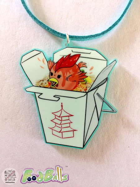 FoodBalls Orange Chicken Takeout Acrylic Charm Necklace