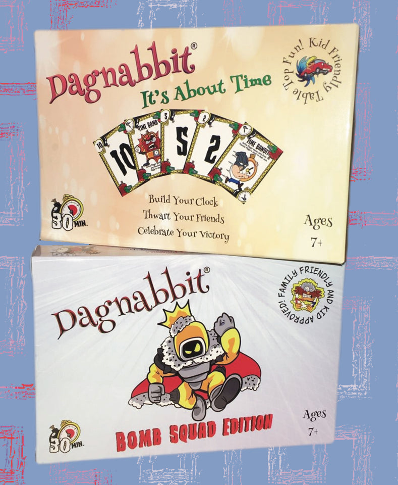 Dagnabbit Games introduces two fantastic games for Christmas 2020.  Unique gift ideas for friends and families.  Suitable for all ages 7 and up.  Cartoon styled characters will capture your imagination and make playing so much fun.