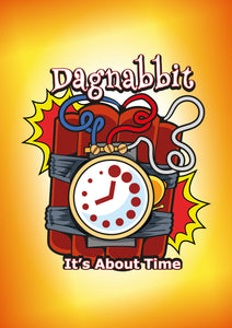 Dagnabbit: It's About Time card game for ages 7 and up.  Family friendly game designed to keep everyone involved from the first play to the last.  Cartoon styled characters with unique actions drive this interactive game.