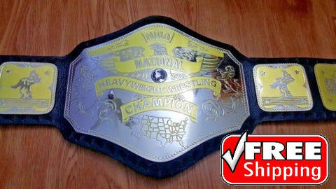 NWA NATIONAL HEAVYWEIGHT Brass Championship Belt - Zees Belts