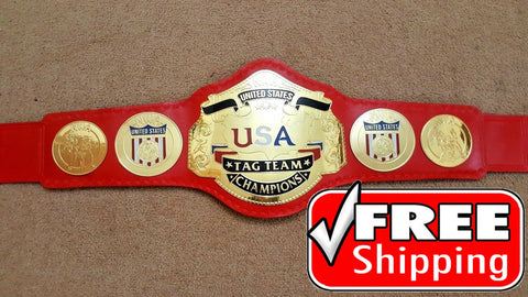 NWA US TAG TEAM Brass Championship Title Belt - Zees Belts