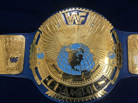 WWF BIG EAGLE BLOCK LOGO 24K GOLD Zinc Championship Belt - Zees Belts